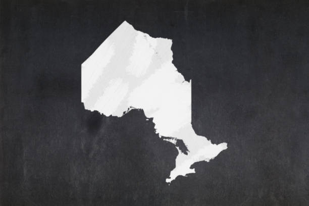 Map of the province of Ontario drawn on a blackboard stock photo