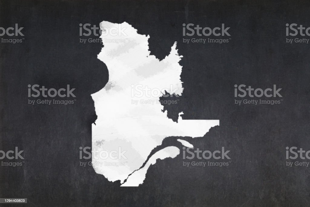 Map of the province of Quebec drawn on a blackboard Blackboard with a the map of the province of Quebec (Canada) drawn in the middle. Backgrounds Stock Photo
