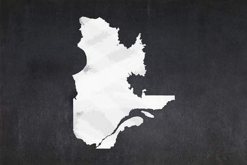 Map Of The Province Of Quebec Drawn On A Blackboard Stock Photo - Download Image Now