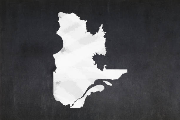 Map of the province of Quebec drawn on a blackboard stock photo