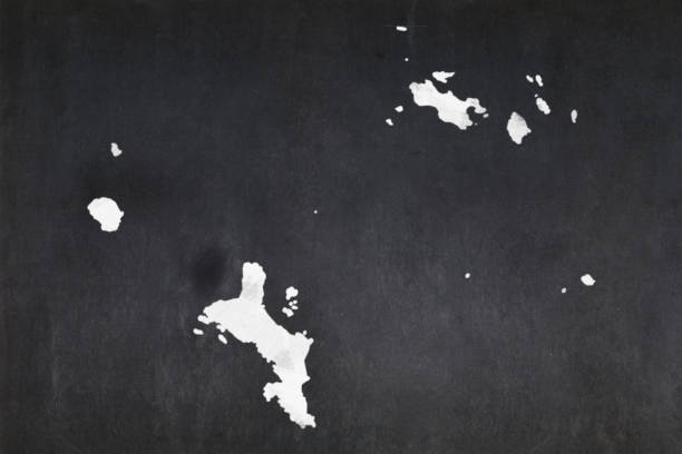 Map of the Seychelles drawn on a blackboard stock photo