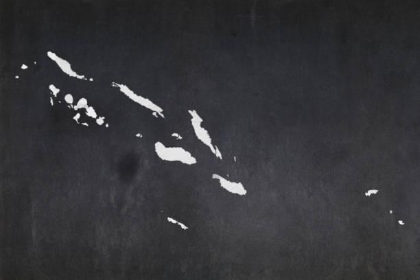 Map of the Solomon Islands drawn on a blackboard stock photo