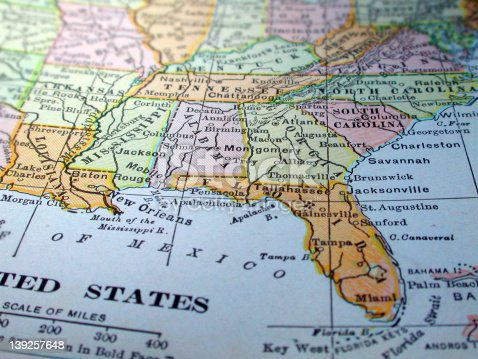 istock Map of the Southeast United States 139257648