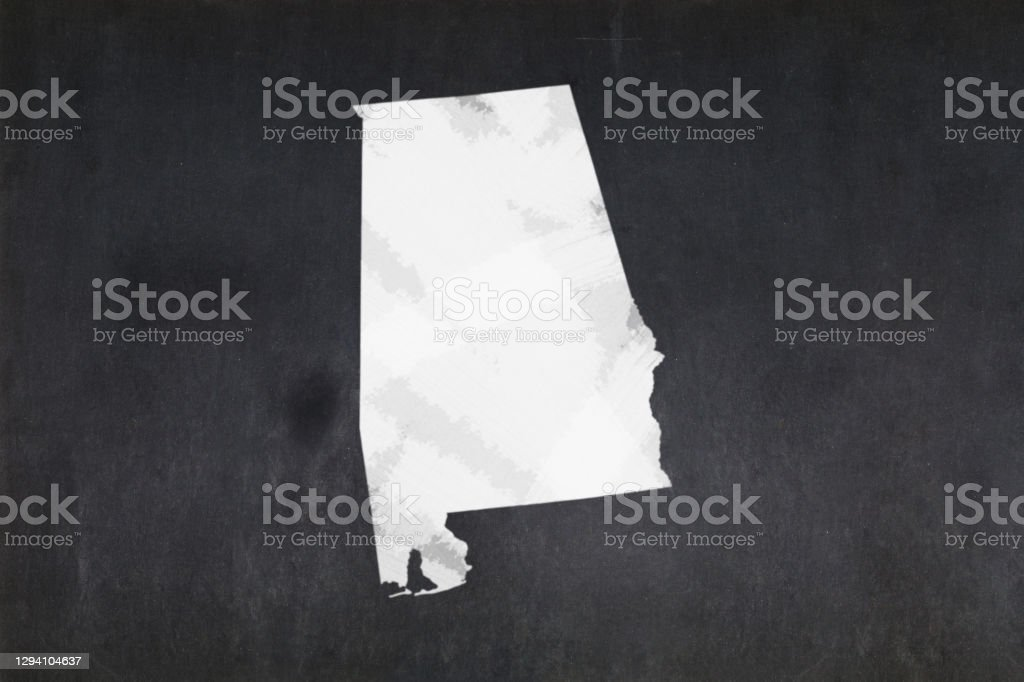 Map of the State of Alabama drawn on a blackboard Blackboard with a the map of the State of Alabama (USA) drawn in the middle. Alabama - US State Stock Photo