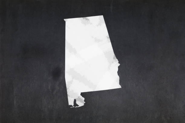 Map of the State of Alabama drawn on a blackboard stock photo