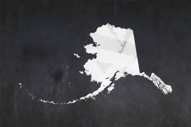 Map of the State of Alaska drawn on a blackboard stock photo