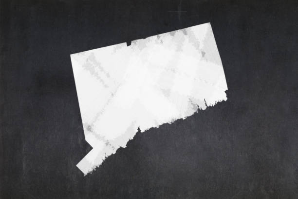 Map of the State of Connecticut drawn on a blackboard stock photo