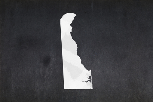 Map Of The State Of Delaware Drawn On A Blackboard Stock Photo - Download Image Now