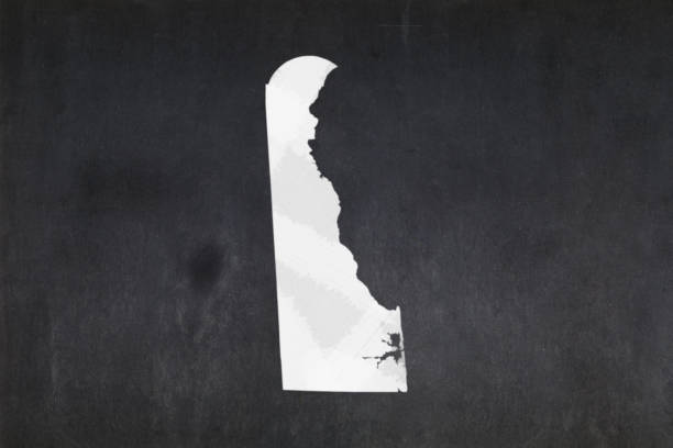 Map of the State of Delaware drawn on a blackboard stock photo
