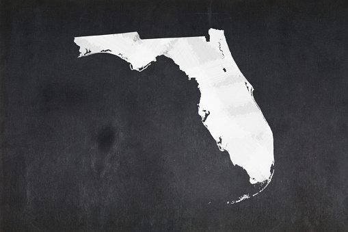 Map Of The State Of Florida Drawn On A Blackboard Stock Photo - Download Image Now