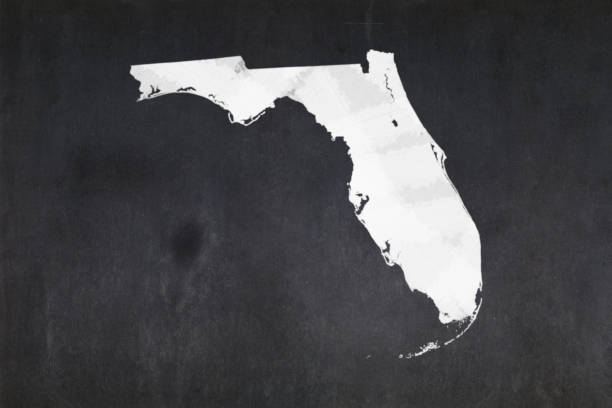 Map of the State of Florida drawn on a blackboard stock photo
