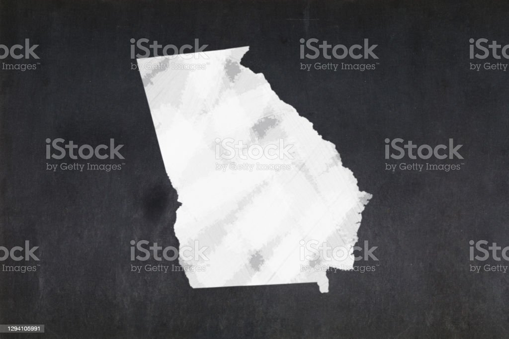 Map of the State of Georgia drawn on a blackboard Blackboard with a the map of the State of Georgia (USA) drawn in the middle. American Culture Stock Photo