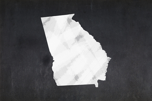 Map Of The State Of Georgia Drawn On A Blackboard Stock Photo - Download Image Now