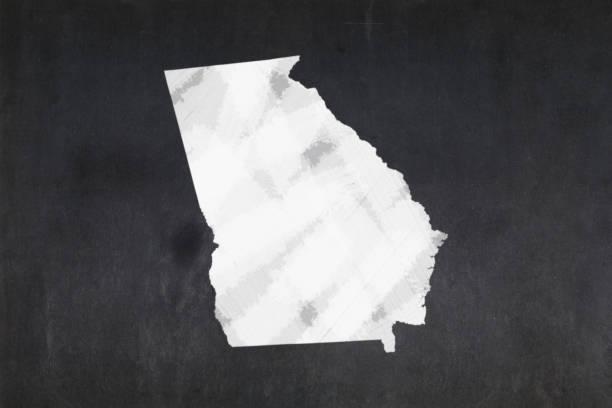 Map of the State of Georgia drawn on a blackboard stock photo