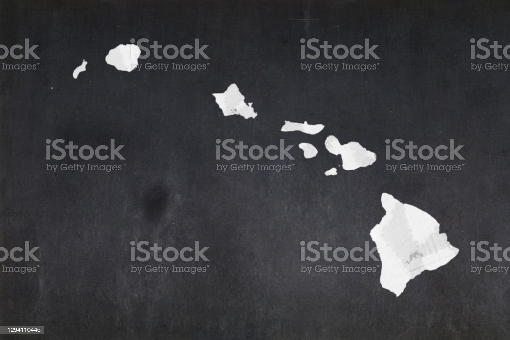Map of the State of Hawaii drawn on a blackboard Blackboard with a the map of the State of Hawaii (USA) drawn in the middle. American Culture Stock Photo