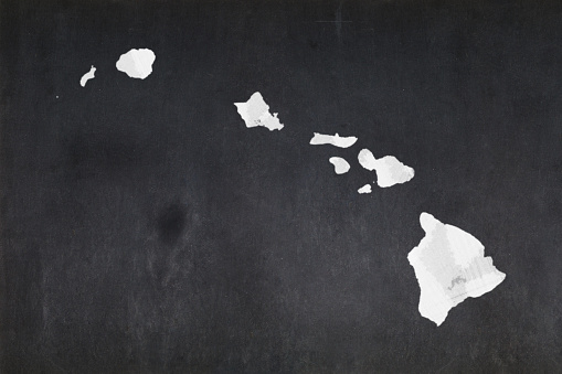 Map Of The State Of Hawaii Drawn On A Blackboard Stock Photo - Download Image Now