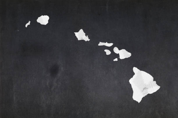 Map of the State of Hawaii drawn on a blackboard stock photo