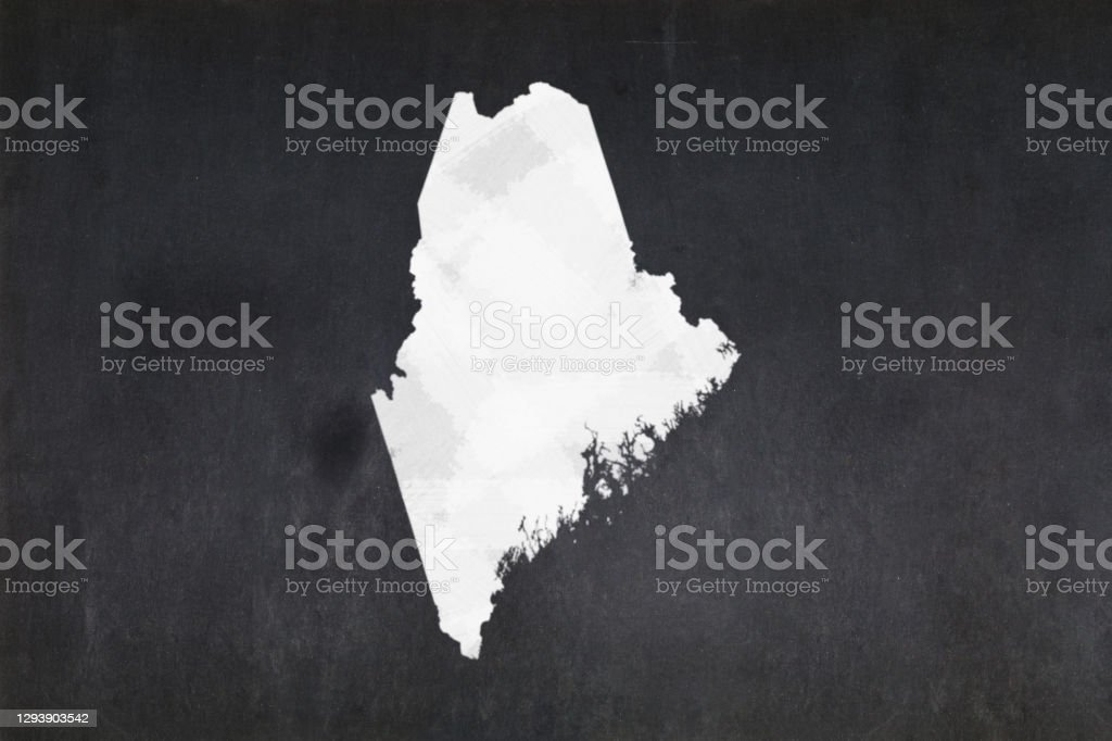 Map of the State of Maine drawn on a blackboard Blackboard with a the map of the State of Maine (USA) drawn in the middle. American Culture Stock Photo