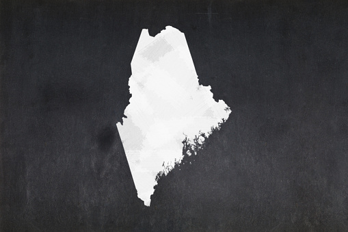 Map Of The State Of Maine Drawn On A Blackboard Stock Photo - Download Image Now