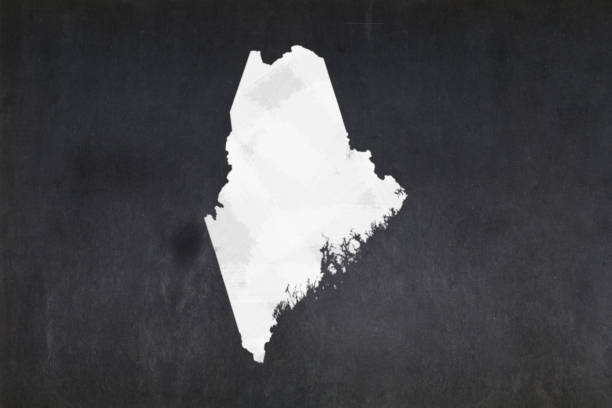 Map of the State of Maine drawn on a blackboard stock photo