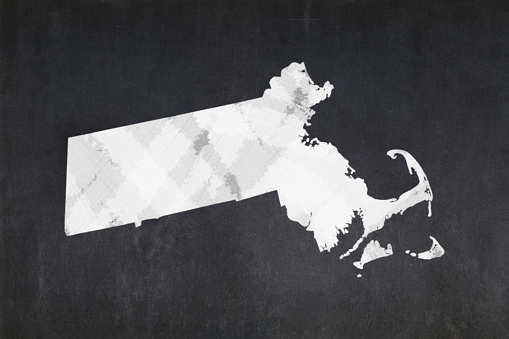 Map Of The State Of Massachusetts Drawn On A Blackboard Stock Photo - Download Image Now