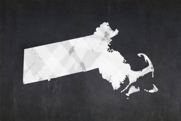 Map of the State of Massachusetts drawn on a blackboard stock photo