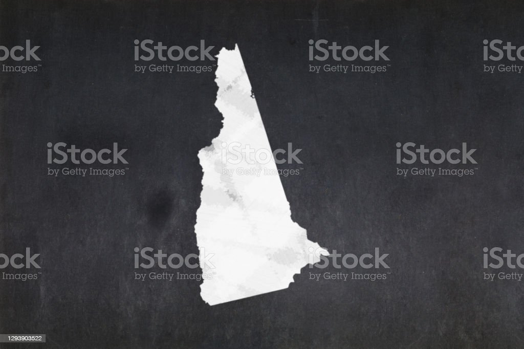 Map of the State of New Hampshire drawn on a blackboard Blackboard with a the map of the State of New Hampshire (USA) drawn in the middle. American Culture Stock Photo