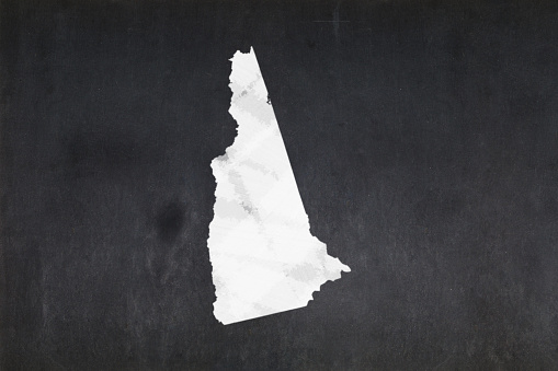 Map Of The State Of New Hampshire Drawn On A Blackboard Stock Photo - Download Image Now