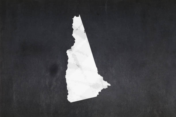 Map of the State of New Hampshire drawn on a blackboard stock photo