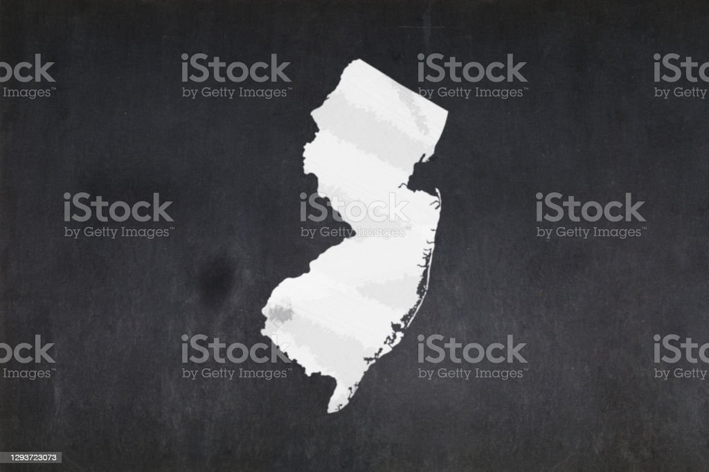 Map of the State of New Jersey drawn on a blackboard Blackboard with a the map of the State of New Jersey (USA) drawn in the middle. American Culture Stock Photo
