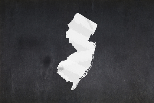 Map Of The State Of New Jersey Drawn On A Blackboard Stock Photo - Download Image Now