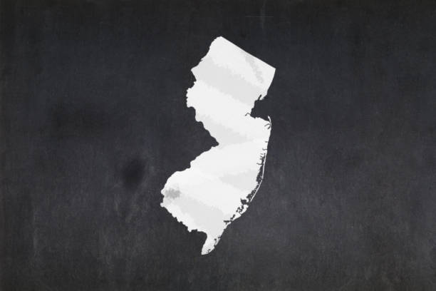 Map of the State of New Jersey drawn on a blackboard stock photo