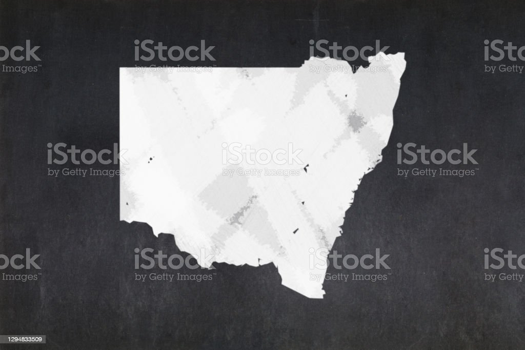 Map of the State of New South Wales drawn on a blackboard Blackboard with a the map of the State of New South Wales (Australia) drawn in the middle. Australia Stock Photo