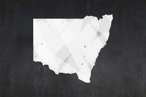 Map Of The State Of New South Wales Drawn On A Blackboard Stock Photo - Download Image Now
