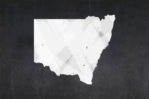 Map of the State of New South Wales drawn on a blackboard stock photo