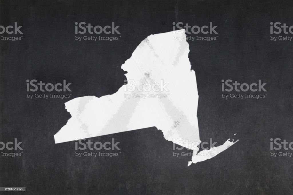 Map of the State of New York drawn on a blackboard Blackboard with a the map of the State of New York (USA) drawn in the middle. American Culture Stock Photo