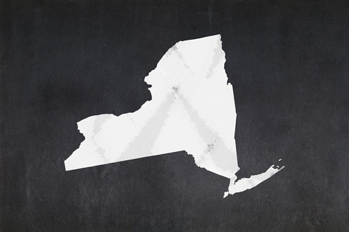 Map Of The State Of New York Drawn On A Blackboard Stock Photo - Download Image Now