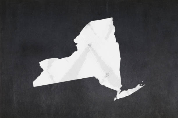 Map of the State of New York drawn on a blackboard stock photo
