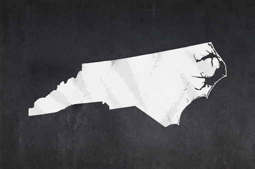 Map Of The State Of North Carolina Drawn On A Blackboard Stock Photo - Download Image Now