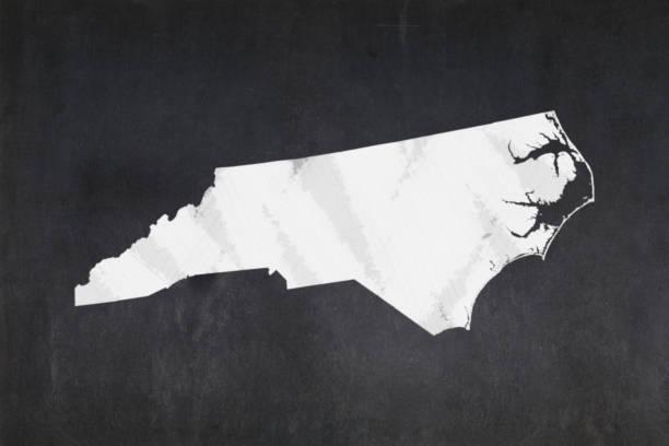 Map of the State of North Carolina drawn on a blackboard stock photo