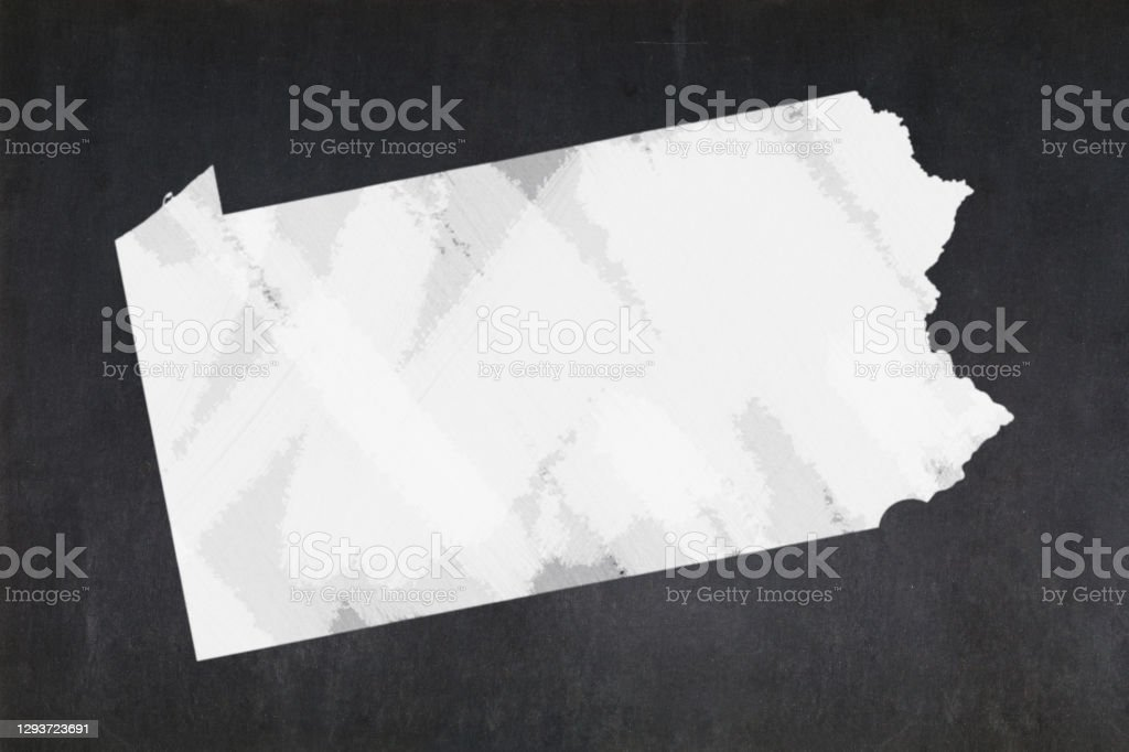 Map of the State of Pennsylvania drawn on a blackboard Blackboard with a the map of the State of Pennsylvania (USA) drawn in the middle. American Culture Stock Photo