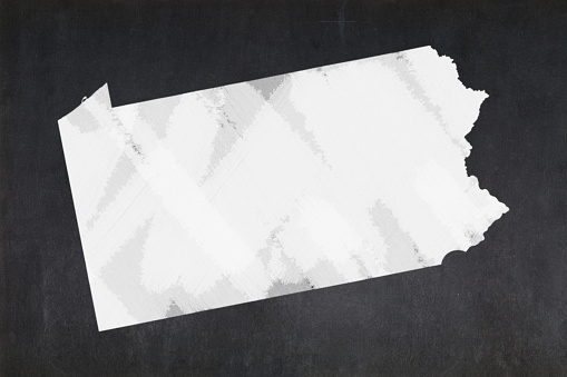 Map Of The State Of Pennsylvania Drawn On A Blackboard Stock Photo - Download Image Now