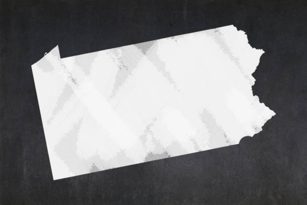 Map of the State of Pennsylvania drawn on a blackboard stock photo
