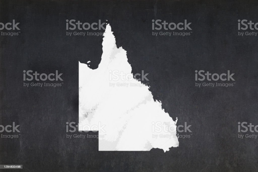 Map of the State of Queensland drawn on a blackboard Blackboard with a the map of the State of Queensland (Australia) drawn in the middle. Australia Stock Photo