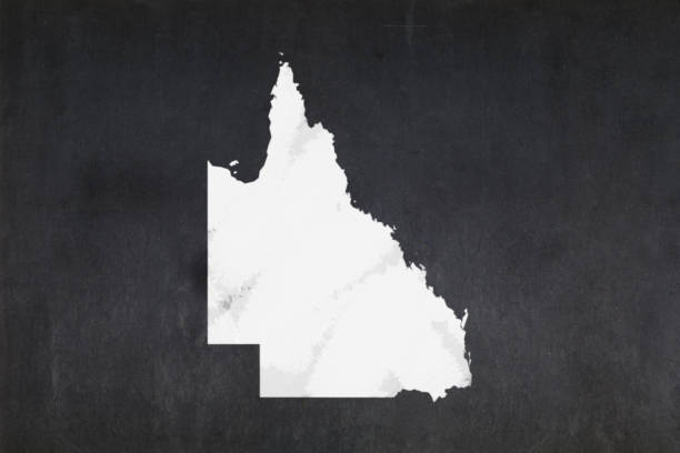 Map of the State of Queensland drawn on a blackboard stock photo