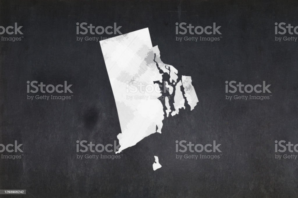 Map of the State of Rhode Island drawn on a blackboard Blackboard with a the map of the State of Rhode Island (USA) drawn in the middle. American Culture Stock Photo