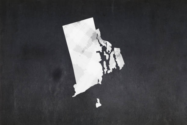 Map of the State of Rhode Island drawn on a blackboard stock photo