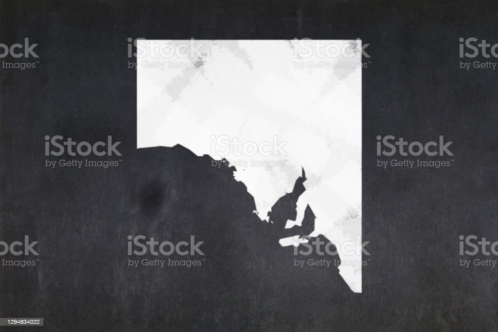 Map of the State of South Australia drawn on a blackboard Blackboard with a the map of the State of South Australia (Australia) drawn in the middle. Australia Stock Photo