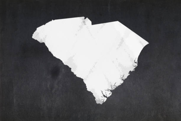 Map of the State of South Carolina drawn on a blackboard stock photo