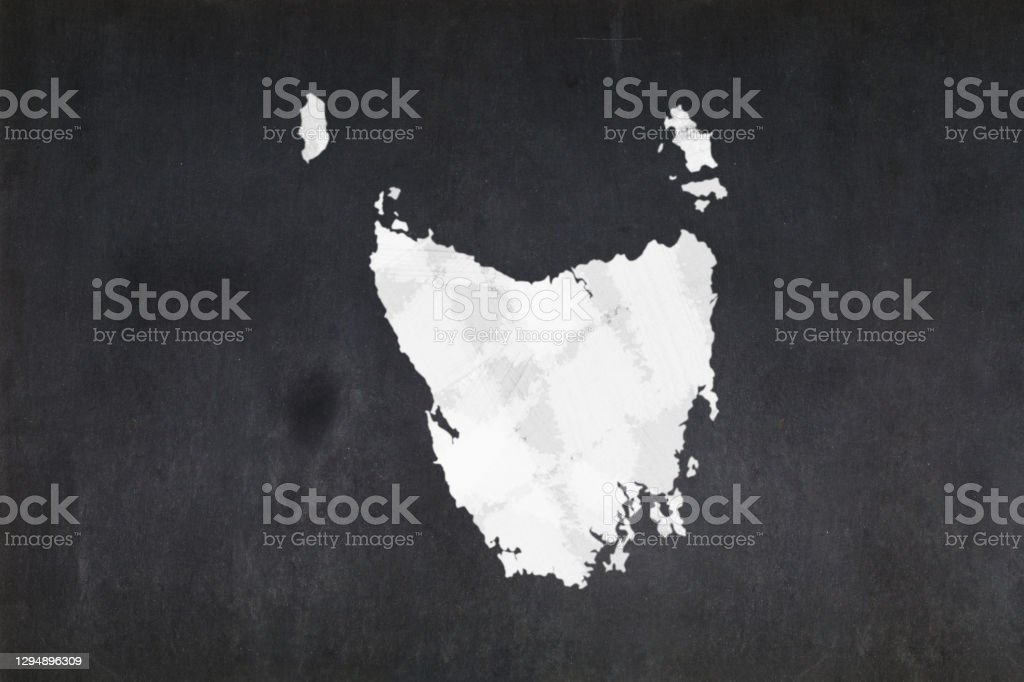 Map of the State of Tasmania drawn on a blackboard Blackboard with a the map of the State of Tasmania (Australia) drawn in the middle. Australia Stock Photo